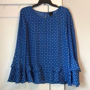 Worthington Blue Ruffle Sleeve Blouse Size XL